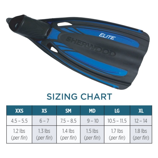 Elite Full Foot Fins FN9 Sizing Chart